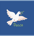 peace day design with flying white dove vector image