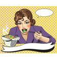 pop art of woman eating vector image vector image