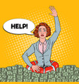 pop art successful woman sinking in money vector image vector image