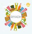 riyadh skyline with color buildings blue sky and vector image vector image
