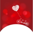 Romantic bicycle heart background vector image vector image
