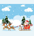 santa riding sleigh christmas template vector image vector image