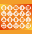 sauna equipment shape carved flat icons set vector image vector image