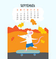 september calendar page with cute rat on vector image vector image