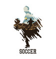 soccer with scenery man playing football in the vector image