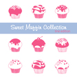 sweet muffin collection lined vector image vector image