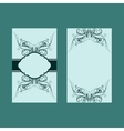 Two design of turquoise floral card vector image vector image