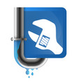 water pipe crack and wrench vector image vector image