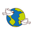world planet with doves flying vector image