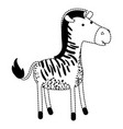 zebra cartoon in black dotted silhouette vector image vector image