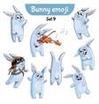 set of cute rabbit characters set 9 vector image