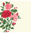 Vintage background with a bouquet of roses vector image