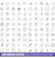 100 media icons set outline style vector image vector image