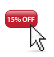15 Off Button Click vector image vector image
