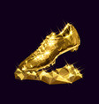 3d golden soccer shoe boot cleat vector image