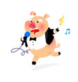 a pig with a microphone and in a tail coat vector image vector image
