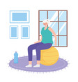 activity seniors old woman in room sitting on vector image
