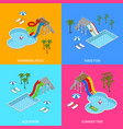 aqua park concept banner card set isometric view vector image vector image