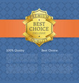 best choice 100 quality golden brand label icon vector image vector image