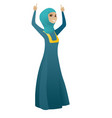 business woman standing with raised arms up vector image vector image