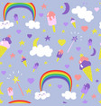 cartoon fantasy ice-cream seamless pattern vector image