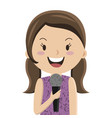 cartoon girl talking in microphone vector image