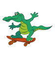 cartoon image of amazing skateboarding alligator vector image vector image