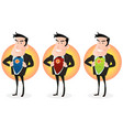 cartoon super hero double identity set vector image