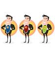 cartoon super hero double identity set vector image vector image