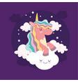 cartoon unicorn clouds vector image vector image