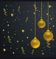 christmas card with dark background and golden vector image