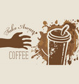 coffee banner with words take away coffee vector image