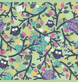 creative children pattern with funny owls and vector image