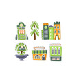 cute city landscape elements set town residential vector image vector image