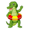 cute crocodile using ring ball cartoon vector image vector image