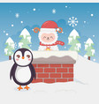 cute penguin and sheep in chimney trees winter vector image vector image