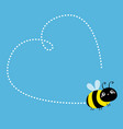 flying bee icon dash line heart big eyes insect vector image vector image