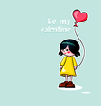 girl with heart balloon vector image vector image