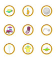 golf holiday icons set cartoon style vector image vector image