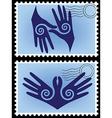 hands post stamp vector image