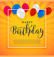 happy birthday celebration background with text vector image vector image