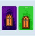 happy halloween invitation design with coffins vector image vector image