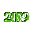 happy new year card green 3d number 2019 vector image