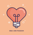 heart shaped light bulb idea and passion concept vector image vector image