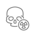 human skull with radiation sign line icon warning vector image