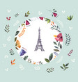 i with eiffel tower and floral wreath vector image vector image