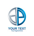 initial letter dp logo template colored silver vector image vector image