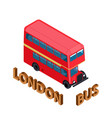 Isometric highly detailed red bus isolated double