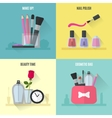 Make up flat icons Square composition banners vector image vector image