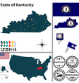 Map of Kentucky vector image vector image